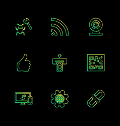 Seo money internet bugs network eps icons set vector