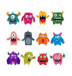 set cartoon cute monsters flat vector image