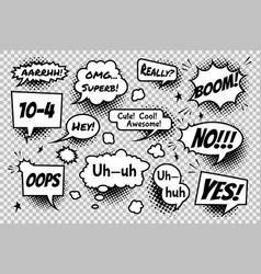 Set comic speech bubbles on transparent vector