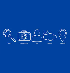 set of outline icons on blue background vector image