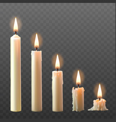 Set of realistic white burning candles vector