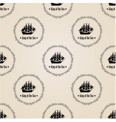 sign of king of the sea seamless pattern vector image