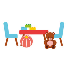 table and chairs ball blocks toys kids vector image