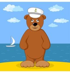 Teddy bear captain on sea coast vector image