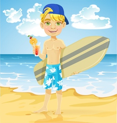 Teen boy with a drink and a surfboard on a beach vector image