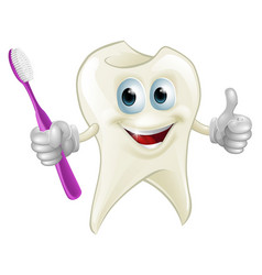 tooth man holding a toothbrush vector image