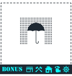 Umbrella and rain icon flat vector image
