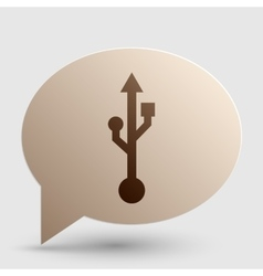 USB sign Brown gradient icon on vector image