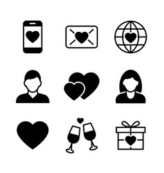 valentine s day black icons on white background vector image