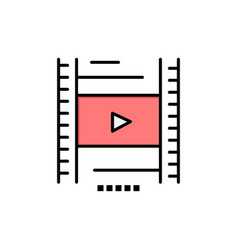 Video lesson film education flat color icon icon vector