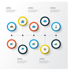 Weather colorful outline icons set collection of vector