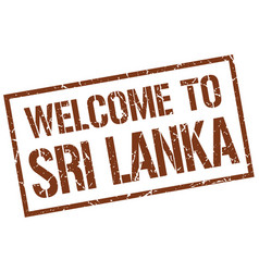 Welcome to sri lanka stamp vector