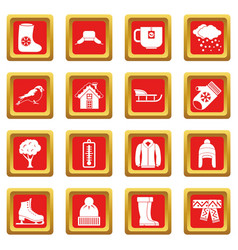 Winter icons set red vector