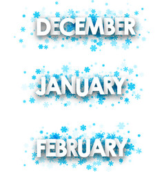 Winter january february december banners vector