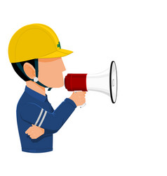 Worker holds a megaphone vector