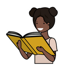 Young black student girl reading book vector