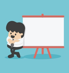 Businessman giving a presentation board for text vector image