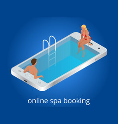 online spa booking concept guests can book online vector image vector image