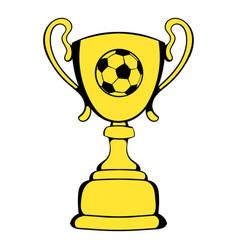 golden soccer trophy cup icon icon cartoon vector image vector image