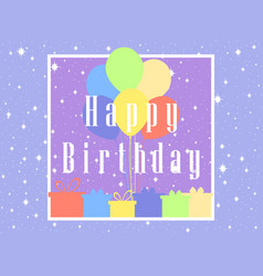 happy birthday card celebration banner balloons vector image