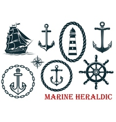 Marine and nautical heraldic elements vector image vector image