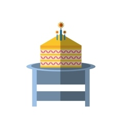party piece cake table icon image vector image