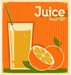 vintage poster of orange juice on old paper vector image