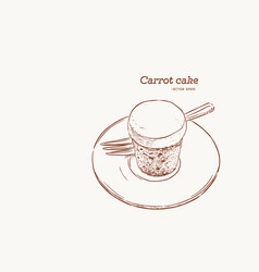 carrot cake hand draw sketch vector image vector image