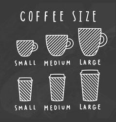 choose coffee size chalkboard style vector image