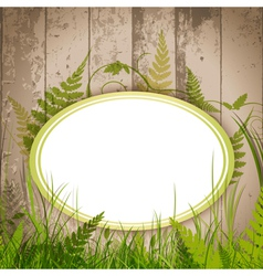 eco floral label over wooden background vector image vector image