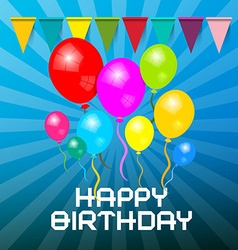 Happy Birthday Card Colorful Balloons with Flags - vector image vector image