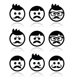 Man with moustache or mustache avatar icon vector image vector image