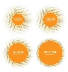 Set of sun circle halftone logo elements vector