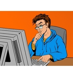 Coder programmer at work comic book style vector image