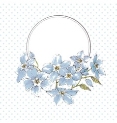Floral frame watercolor blue flowers and space for vector image vector image