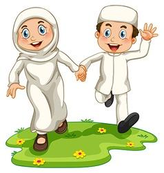 Muslim boy and girl vector image