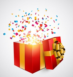 Red gift box with confetti vector image