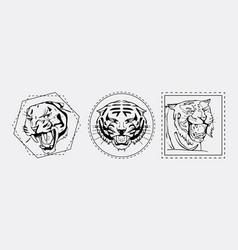 tiger muzzle emblem set vector image vector image