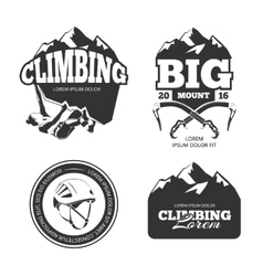 Vintage mountain climbing logo and labels vector image vector image