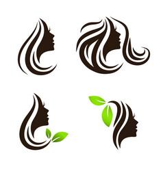 woman beauty hair spa salon logo design set vector image vector image