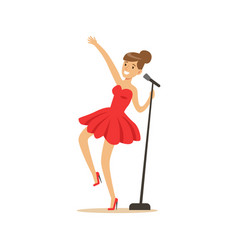 young beautiful girl in red dress singing a song vector image vector image