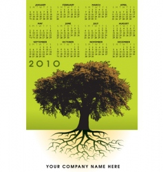 2010 trees roots calendar vector image