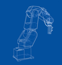 3d outline robotic arm rendering of 3d vector