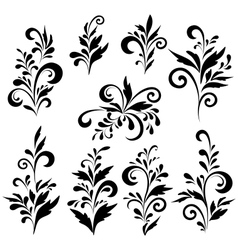 Abstract floral patterns silhouettes vector