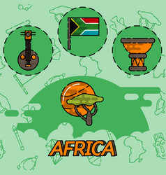 Africa flat concept icons vector