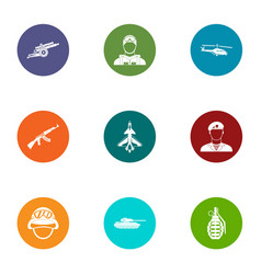 armed uprising icons set flat style vector image