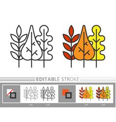 autumn fall leaf line icon editable stroke vector image