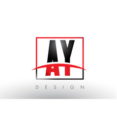 Ay a y logo letters with red and black colors vector