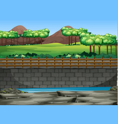 background scene park with trees and pond vector image