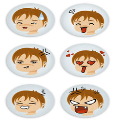 badges with manga faces vector image
